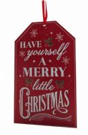 HAVE YOURSELF A MERRY LITTLE CHRISTMAS' WOODEN HANGING SIGN PLAQUE CHALK